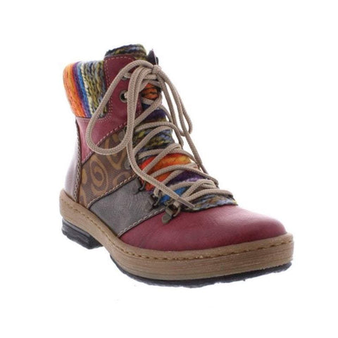 Rieker  Z6744-35 Red Combination Ankle Boot