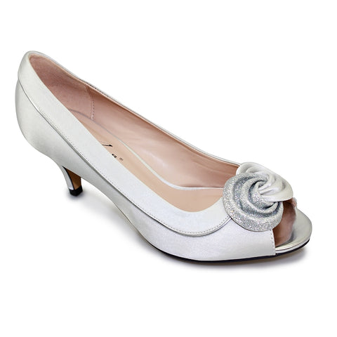 Lunar Ripley Silver Satin Peep Toe Court Matching bag available