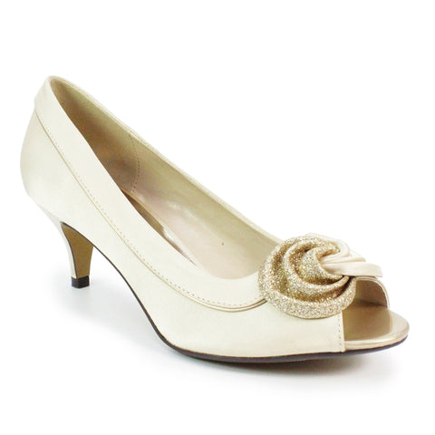 Lunar Ripley FLR222 CHAMPAGNE Peep Toe Occasion Court shoe