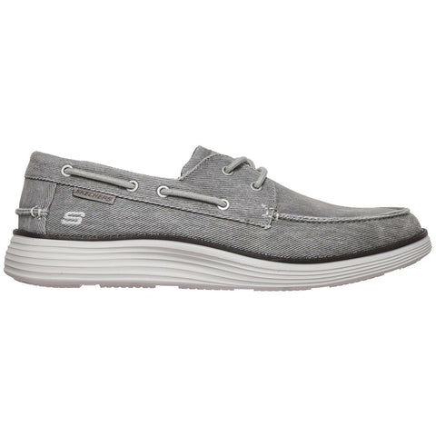 MENS SKECHERS STATUS 2.0 LORANO LIGHT GREY MEMORY FOAM BOAT SHOES 65908/LTGY