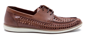 Red Tape Mens Spinney Interlaced Boat Shoe Tan Leather