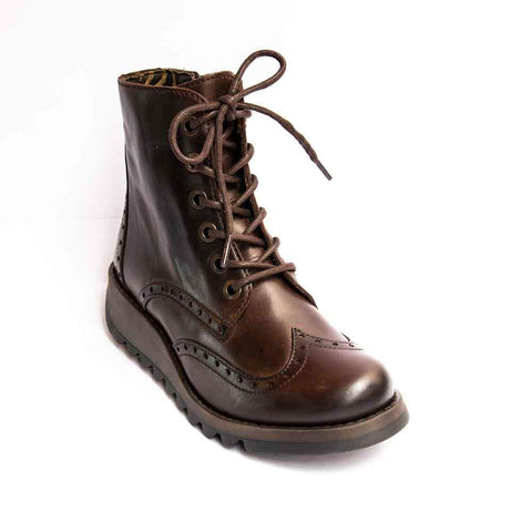 Fly London Sarl BROWN Soft Leather Brogue ankle boot with Laces and Zip.