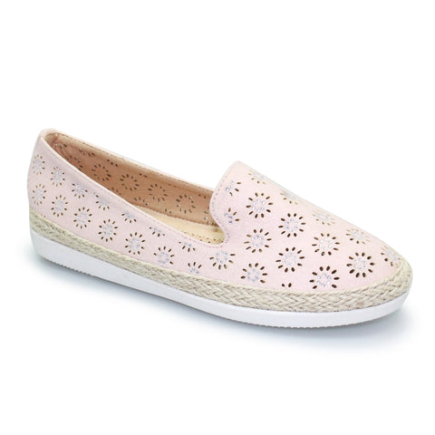 Lunar Sharni Pink Diamante Espadrille Pump FLY118GR