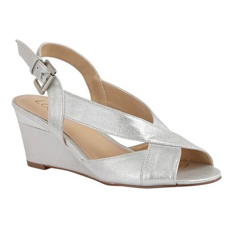 Lotus Dominica SILVER Sling Back Wedge Sandal uls179
