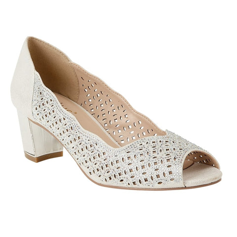 Lotus 50895 Attica Silver Patent & Diamante Attica Open-Toe Shoes