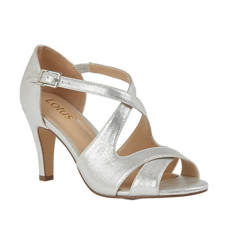 Lotus Sadia SILVER Open Toe Strappy Dress sandal  ULS157