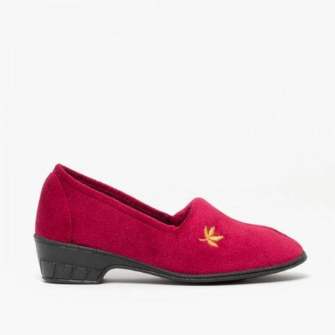 Sleepers Andover Burgundy Velour Slipper with Heel
