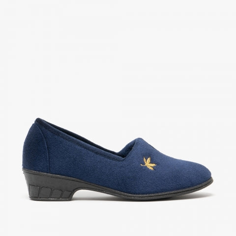 Sleepers Andover Navy Velour Full Slipper with Heel
