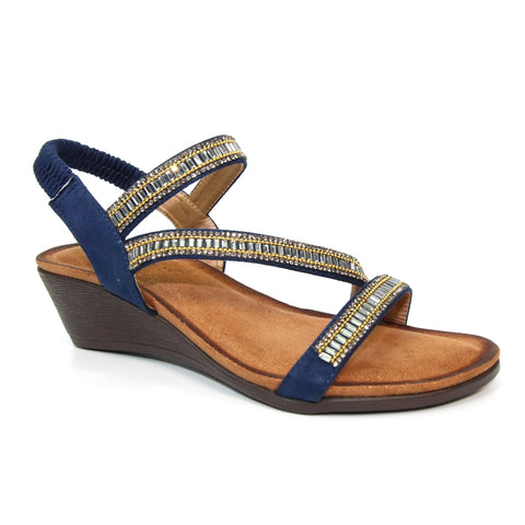 Lunar Sophia NAVY cross strap gemstone Sandal