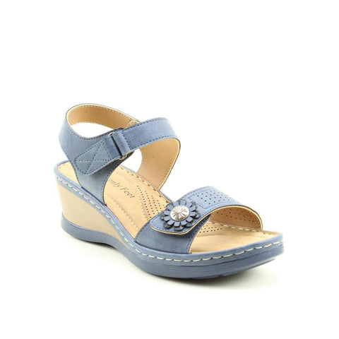 Heavenly Feet Geranium NAVY wedge sling back sandal