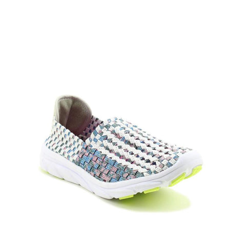 Heavenly Feet Sweet Pea WHITE/NAVY Interlaced Ath Leisure Shoe