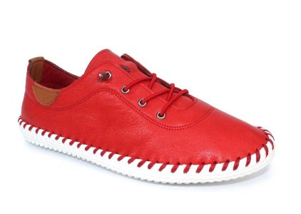 Lunar St Ives Leather Plimsoll Shoe Red FLE030