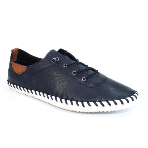 Lunar St Ives NAVY FLE030BL Soft Leather Casual Shoe