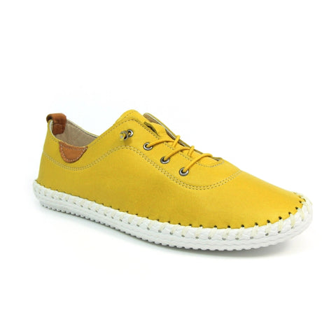Lunar St Ives  FLE030 Yellow Soft Leather Elasticated Lace Plimsoll