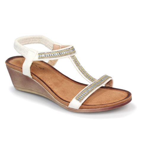 Lunar Tabitha White Wedged 'T' Bar Sandal JLH072
