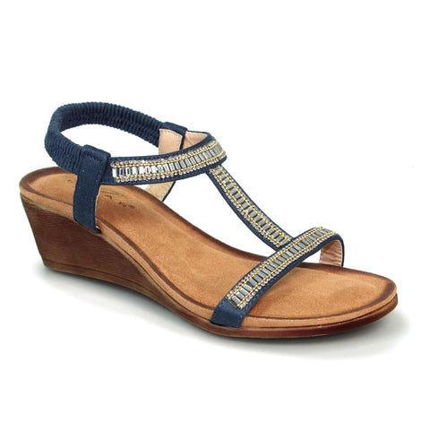 Lunar Tabitha Navy Wedged 'T' Bar Sandal JLH 072