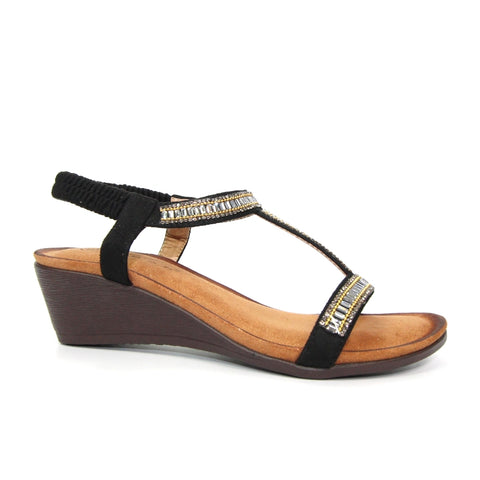 Lunar Tabitha BLACK T Bar Wedge Sandal