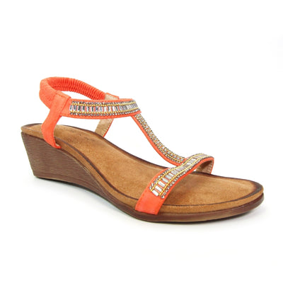 Lunar Sandal Tabitha ORANGE T Bar Wedge Sandal