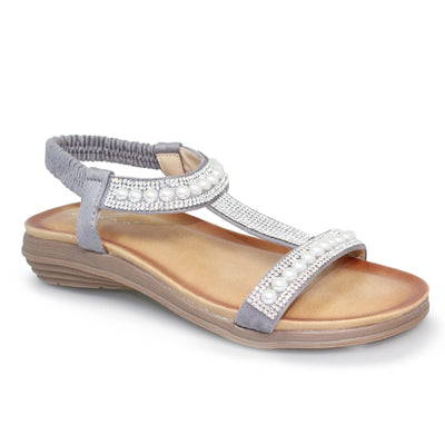 Lunar Sandal Tancy GREY Pearl Trim T Bar Sandal