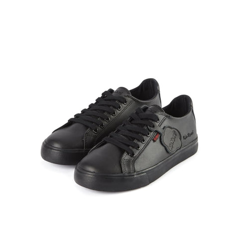 Kickers Tovni Lacer BLACK Leather School Shoe