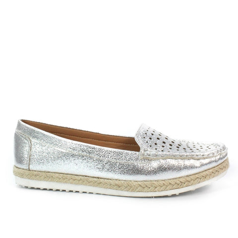 Lunar Tyler Espadrille Moccasin FLY121 Silver Metalic
