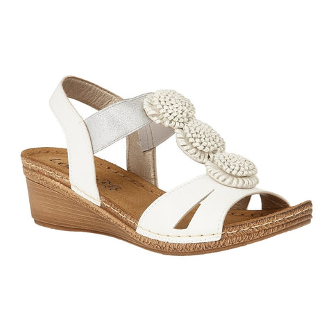 Lotus Ladies White Saphira Wedge Sandals