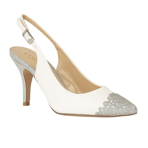 Lotus Sling-Back Court Shoes Arlind  White & Silver Glitz