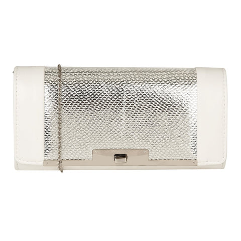 Lotus Zonda Clutch Bag White & Silver