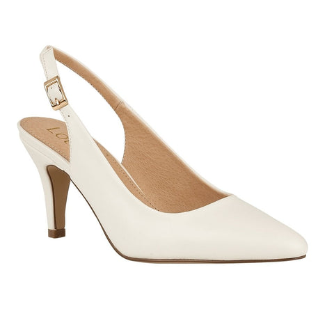 Lotus Ladies White Smooth Lizzie Sling-Back Shoes