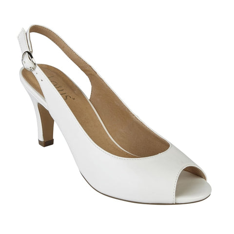 Lotus 50900 White Smooth Sommer Peep-Toe Sling-Back Shoes