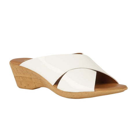 Lotus White Tonia Patent Mule Wedge Sandals