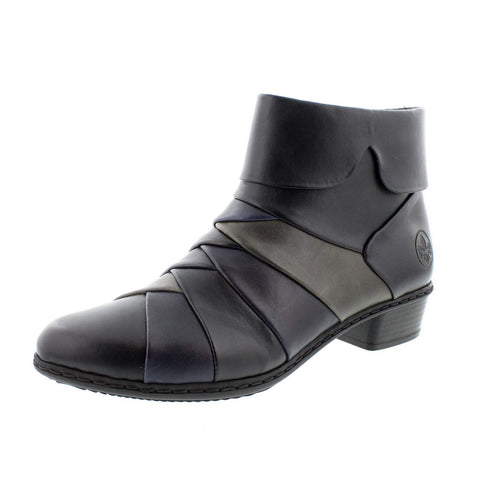 RIEKER Ladies Y0791-01 LADIES Black COMBINATION ZIP ANKLE BOOTS
