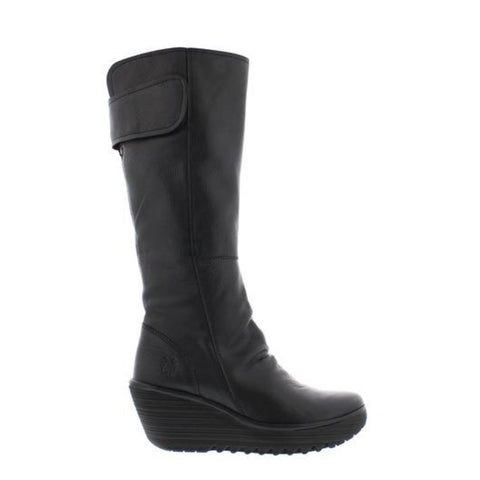 FLY London Yulo Black Leather long boot