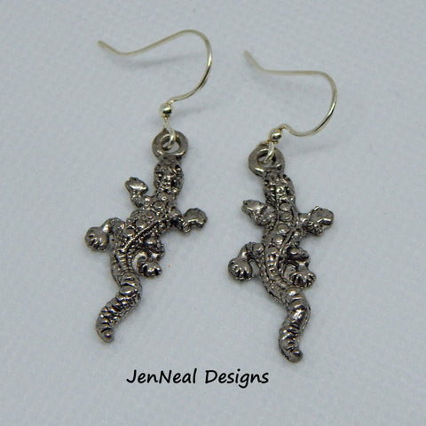 Silver Gecko Dangle Earrings