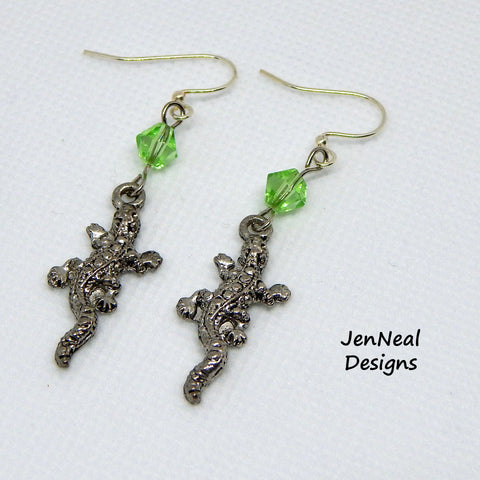 Silver Gecko Earrings with Green Crystal