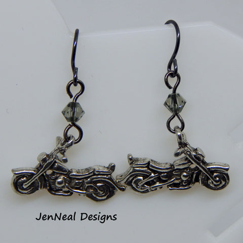 Motorcycle Dangle Earrings with Crystal