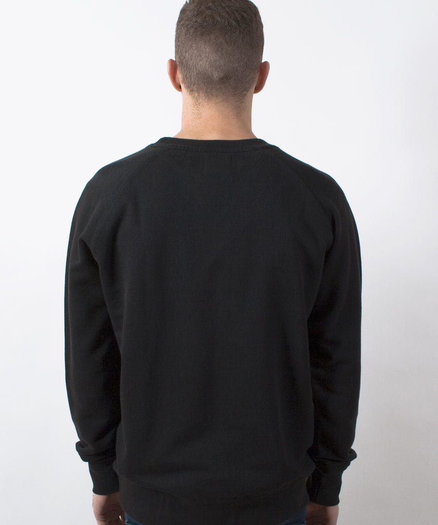 Basics Plain Black Men's Raglan Sweatshirt