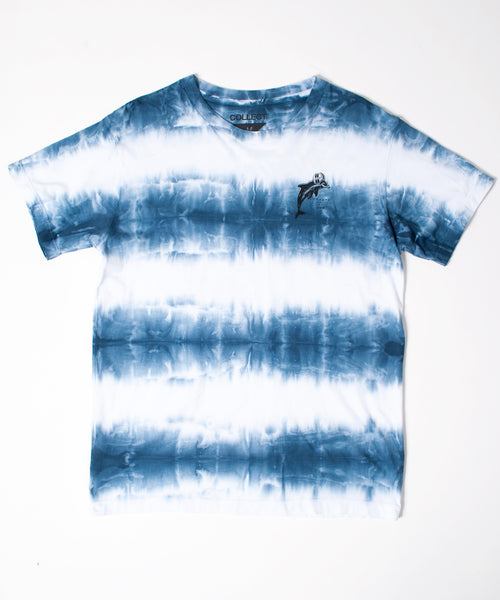 Blue Striped Tie-Dye Winter Sports T-Shirt