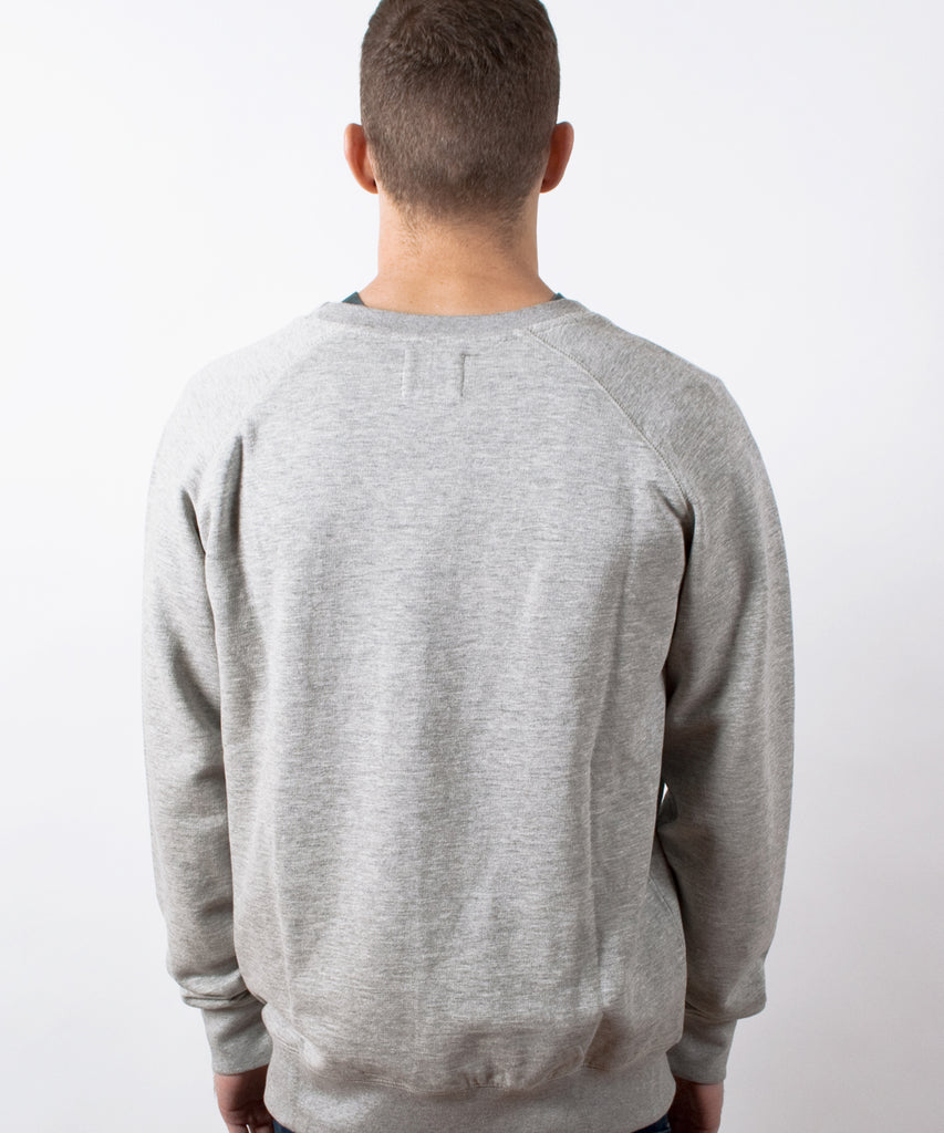 Basics Plain Grey Marl Men's Raglan Sweatshirt
