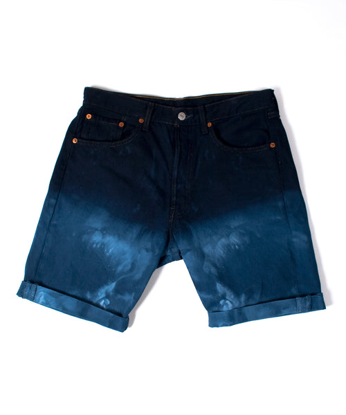 Men's Blue Dip-Dye Denim Shorts