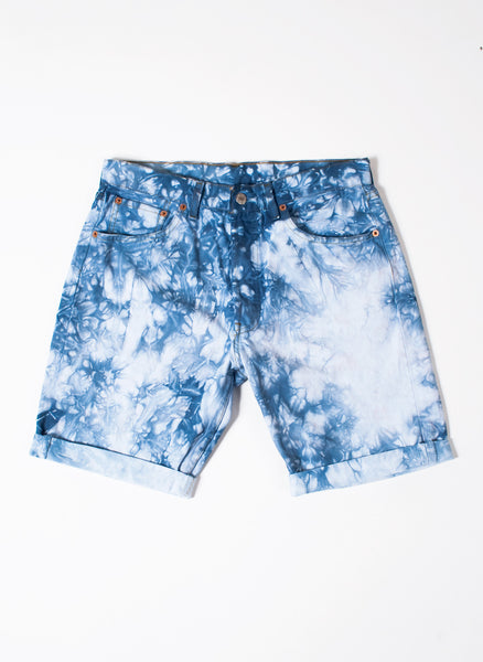 Men's Blue Marble Tie-Dye Shorts