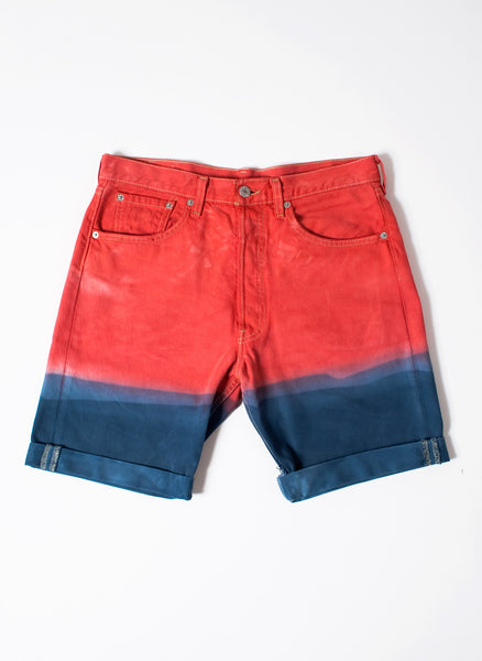 Men's Blue Red Dip Dye Shorts