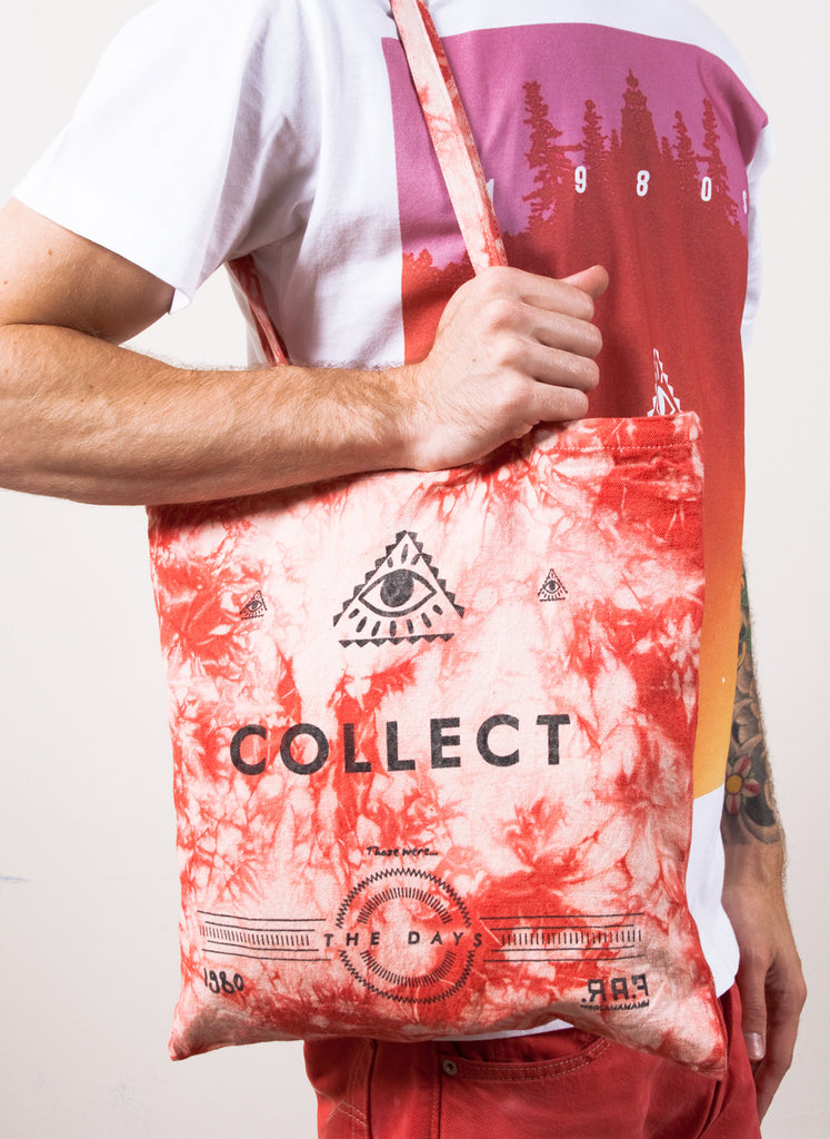 Red Tie-Dye Far Out Canvas Tote Bag