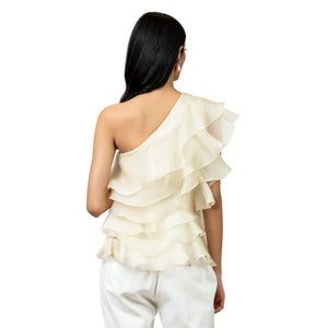 Ivory One shoulder Ruffled top
