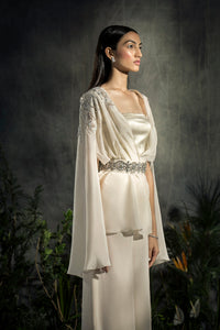 Embellished Cape with flared pants