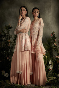 Floral Pearl Anarkali with Belt And Sharara