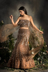 Embroidered corset lehenga with draped Dupatta