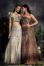 Load image into Gallery viewer, Embroidered corset lehenga with draped Dupatta