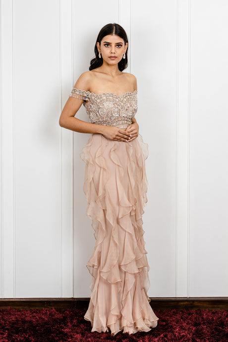 Offshoulder Ruffled Gown