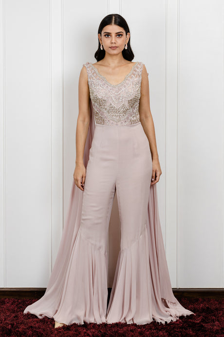 Lilac jumpsuit with a back drape